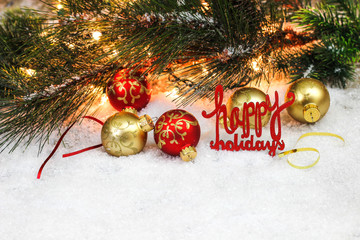 Christmas background with Happy Holidays and decorations