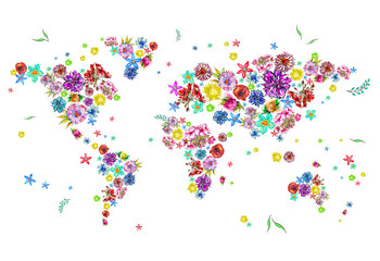Watercolor illustration of world map in flowers
