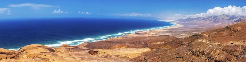Cofete sandy beach with vulcanic mountains in the background, Jandia, Fuerteventura, second biggest Canary island, Spain.