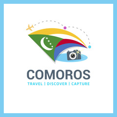 Comoros Travel, Discover, Capture logo - Vector travel Photographer logo design - Country Flag Travel, Discover and Photographer Conceptual logotype - vector illustration