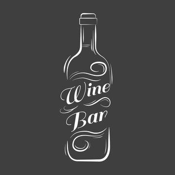 Wine bottle. Vintage vector engraving illustration. Advertising design for pub on black background.