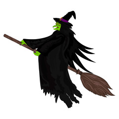 Scary witch flying on a broom