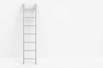 ladder and white wall, 3D rendering