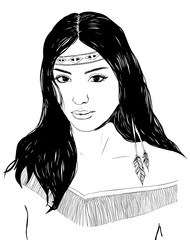 Young american indian woman portrait, hand drawn sketch, black hair