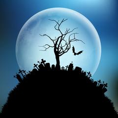 Fototapete - Spooky Halloween tree against the moon