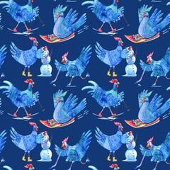 Seamless pattern with comic rooster on skates,skiing,snowman and hockey.Symbol of the new year 2017.Watercolor hand drawn illustration.Dark blue background.