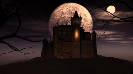Fototapete - 3D Halloween background with spooky castle