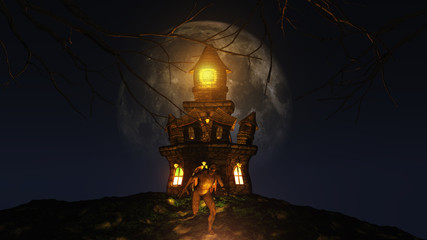 Fototapete - 3D Halloween background with creature running from spooky castle