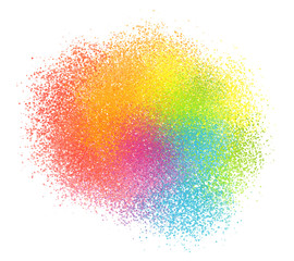 Bright rainbow colors vector paint powder cloud