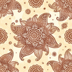 Hand drawn henna tattoo flowers vector seamless pattern