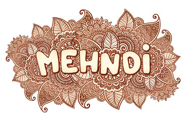 Mehndi sigh on floral henna tattoo style flowers background