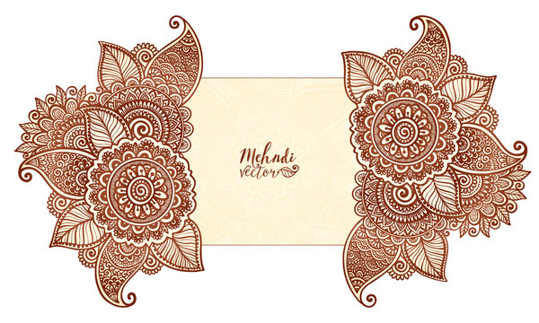Vector floral elements in Indian mehndi henna tattoo style