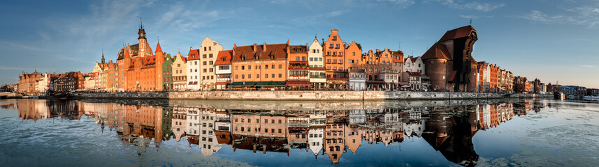 Cityscape of Gdansk with reflection Wall mural