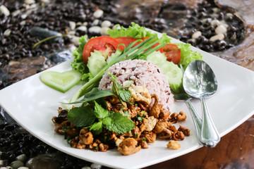 close up Rice with stir fried minced pork