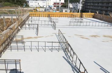 住宅 工事現場 基礎工事 大規模傾斜分譲地 ベタ基礎 配筋