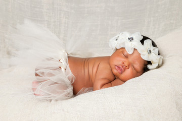 African American Newborn Asleep Ivory Headband Tutu