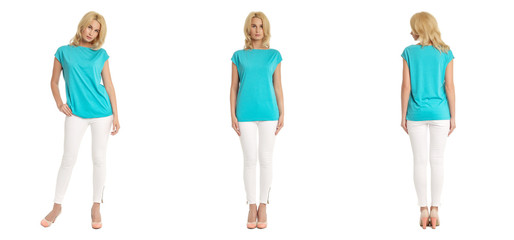 Young sexy blond woman in blue shirt isolated