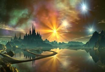 3d Rendered Fantasy Alien Landscape- Illustration