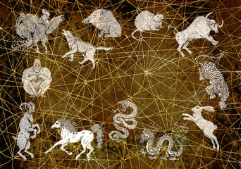 Background with chinese calendar zodiac animals