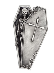 Halloween skull coffin . Hand pencil drawing on paper.