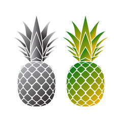 Pineapple mosaic icon. Tropical fruit isolated on white background. Symbol of food, sweet, exotic and summer, vitamin, healthy. Nature logo. 3D concept. Design element Vector illustration