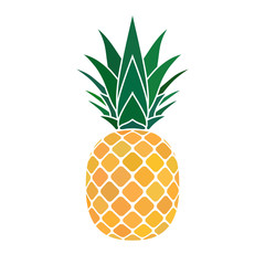 Pineapple with leaf icon. Tropical fruit isolated on white background. Symbol of food, sweet, exotic and summer, vitamin, healthy. Nature logo. Flat concept. Design element Vector illustration