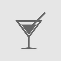 Summer drink vector icon. Drink with straw simple isolated vector symbol icon.