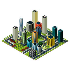 Big city isometric map. Set of skyscrapers in downtown. Cityscape illustration.