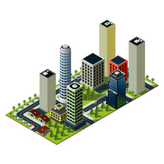 Isometric city map. Set of buildings in downtown. Crossroads and markings illustration.