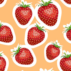 Pattern of realistic image of delicious big strawberries different sizes. Orange background