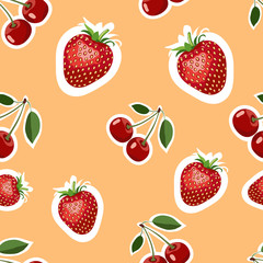 Pattern of realistic image of delicious strawberries and cherry different sizes. Orange background