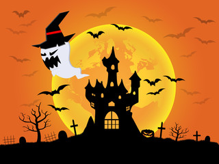 Abstract Halloween background that provides empty space for text or content. Vector illustration.