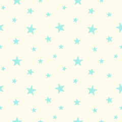 Cute blue stars seamless pattern. Baby Shower background. Babies fashion