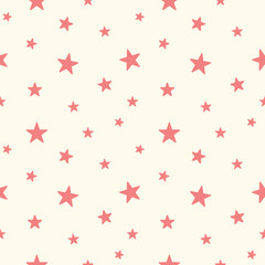 Cute red star seamless pattern. Baby Shower background. Babies fashion