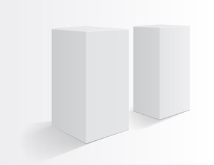 Boxes on a white background. Realistic mockup. Tall box.