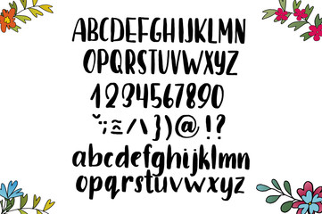 Hand drawn brush ink vector ABC upper and lower case letters set.