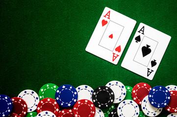 Poker Chips Karten Ass