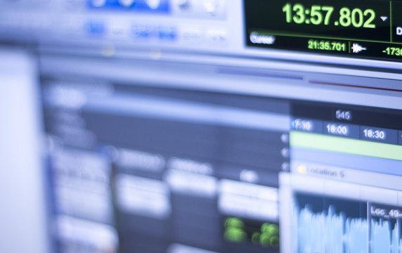 Sound recording studio screen