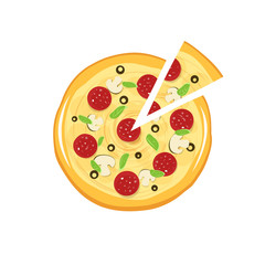 Pizza vector icon isolated on white background, flat cartoon pizza and pizza slice cut illustration