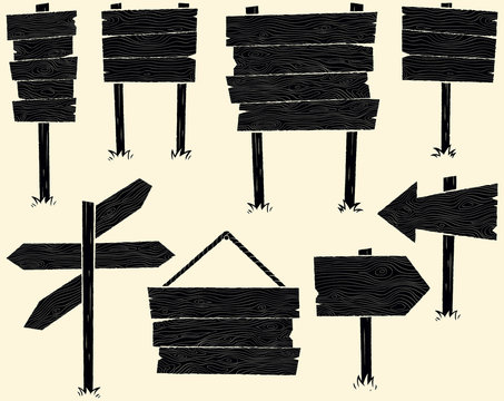 Wooden Signs / Set of cartoon wooden sign.