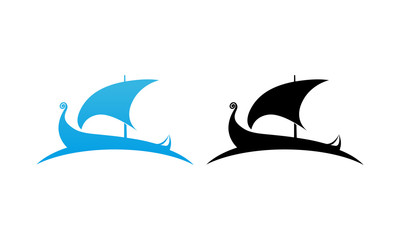 Scandinavian Drakkar Longship. Vector Logo