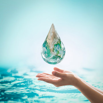 Female woman human hands on blurred wavy clean water background: Saving water clean natural environment ocean concept/ campaign: Love earth, save water conceptual idea/ sign