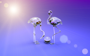 3d flamingo made of colored glass. High resolution 3D Render