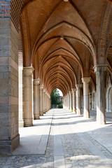Arch way in ancient palace. Marianne Wilhelmine Oranska Palace in Kamieniec Zabkowicki, Poland.