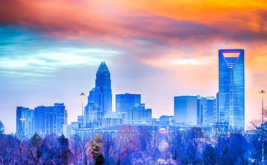 Wall Mural - charlotte the queen city skyline at sunrise