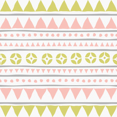 Ethnic seamless pattern with geometric shapes.