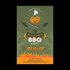 Halloween BBQ party invitation card