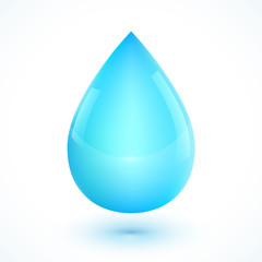 Blue realistic vector water drop isolated on white background