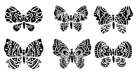 Silhouette of a butterfly set, butterfly vector, butterfly illustration