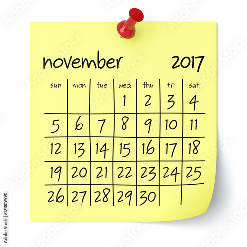 """November 2017 - Calendar"""" Stock photo and royalty-free images on ..."""